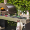 one wood fired oven with multifunctional base