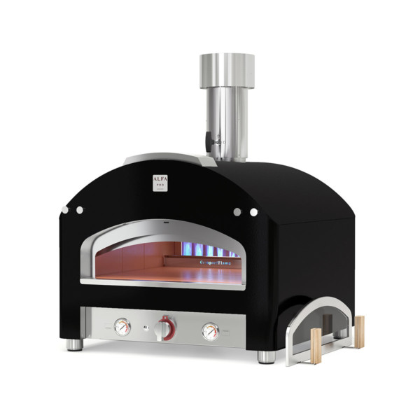 pizza oven cooking with flame piazza alfa forni